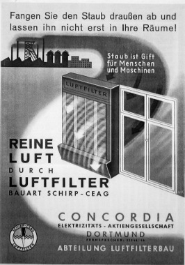 Werbung der CEAG für die Luftfilter der Bauart Schirp