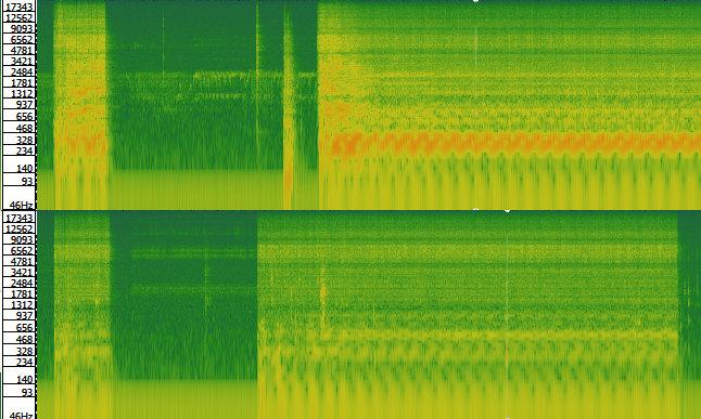 Spektrogramm des Brühvorgangs verglichen