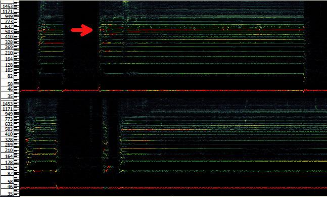 Peakfrequenz-Spektrogramm des Brühvorgangs verglichen
