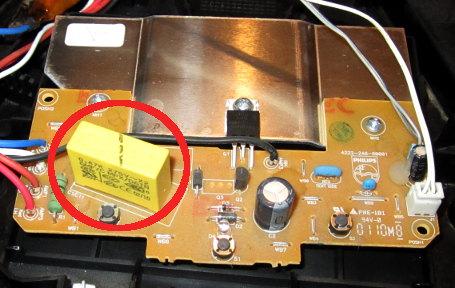 Senseo-Leiterplatte mit markiertem Kondensator