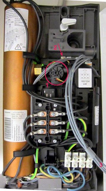 Elektronischer Durchlauferhitzer von innen
