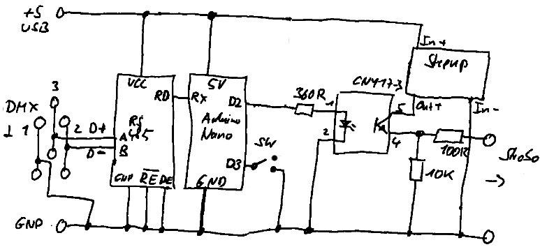 DMX-Stroboskopsteuerung Schaltplan
