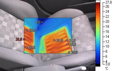 IR-Bild der Sitzheizung